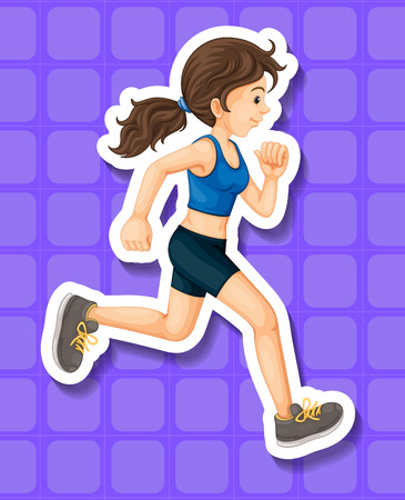 women working out: Woman in sport clothes running illustration