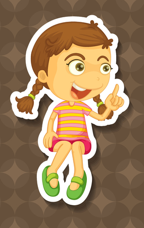 little finger: Little girl pointing her finger illustration Illustration