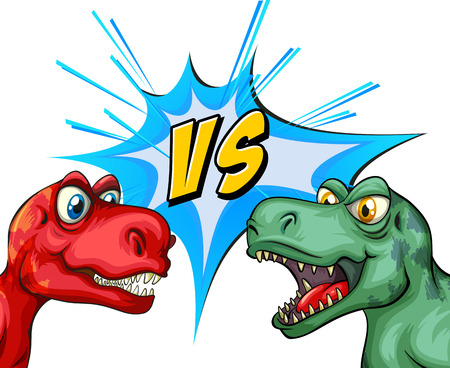 fighting: Two T-Rex fighting each other illustration