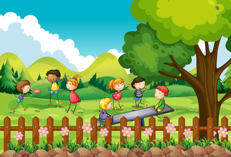 child drawing: Children playing in the field illustration Illustration