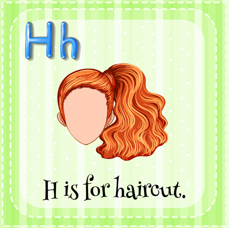 h: Flashcard letter H is for haircut illustration