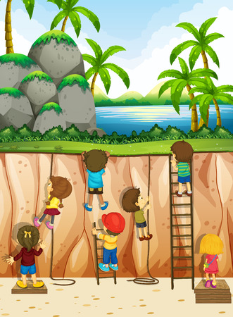 rope ladder: Boys and girls climbing up the cliff illustration