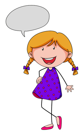 smile close up: Little girl with speech bubble illustration