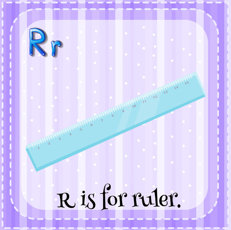 letter alphabet pictures: Flashcard letter R is for ruler illustration