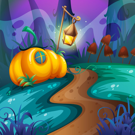 dirtroad: Halloween theme with pumpkin in the field illustration Illustration