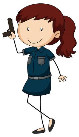 cop: Police officer holding a gun illustration