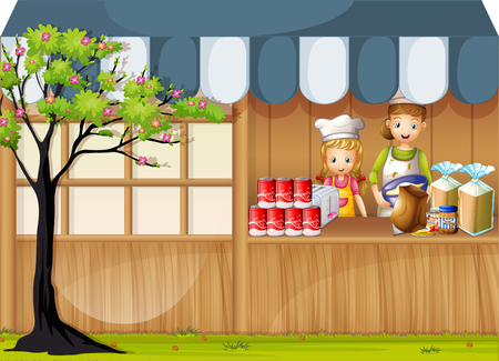 plant to drink: Girls selling food in foodstand illustration Illustration