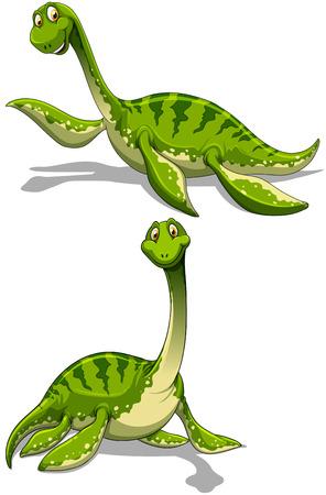 cuello largo: Dinosaurio verde con la ilustraci�n de cuello largo