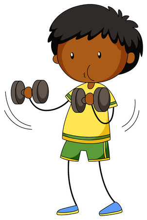 working out: Little boy lifting weights illustration