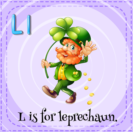 leprechaun background: Flashcard letter L is for leprechaun illustration