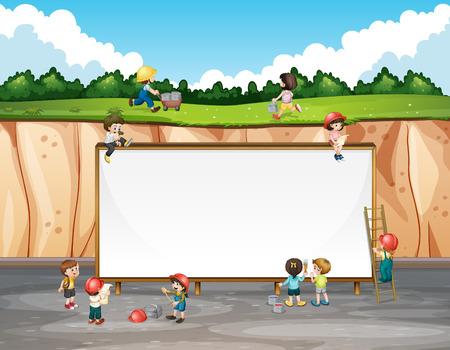 cliffs: Banner design with children and cliff illustration