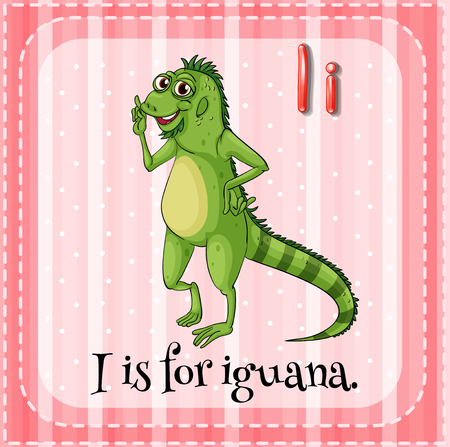i kids: Letter I is for iguana illustration Illustration