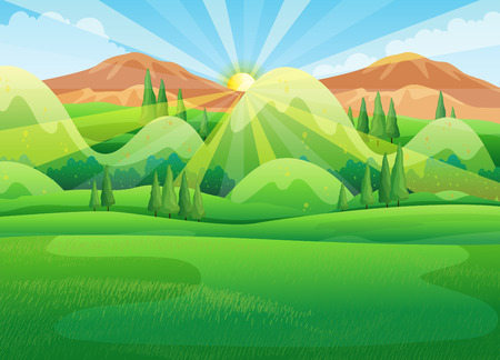 mountain scene: Nature scene with sunrise in the morning illustration