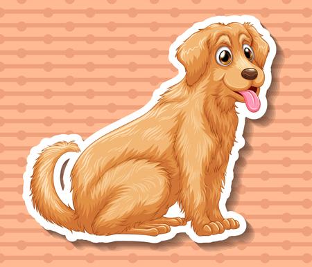 single animal: Brown dog labrador sitting illustration