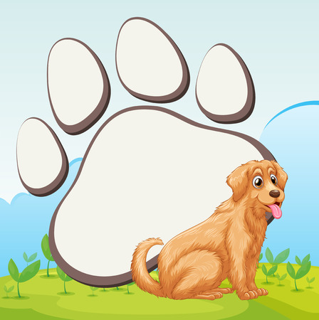 cute dog: Cute dog and foot print illustration