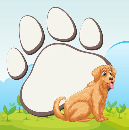 huellas de perro: lindo perro y la ilustración de la impresión del pie