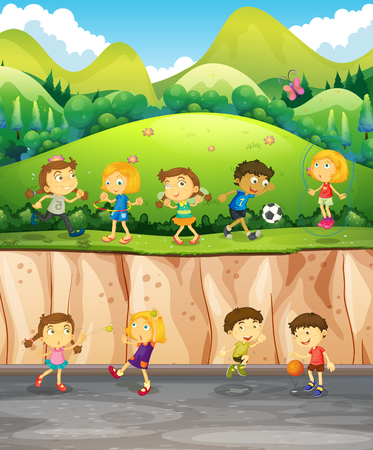 kids outside: Children playing in the park illustration