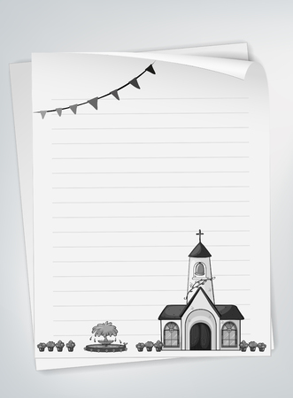 the christian religion: Blank paper with church design illustration