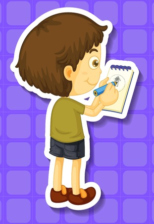 taking notes: Little boy writing notes illustration