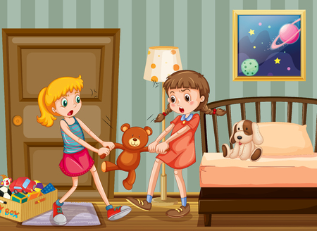 two girls: Two girls pulling teddy bear in bedroom illustration