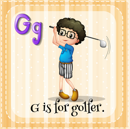 person writing: Alphabet G is for golfer illustration