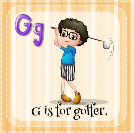 persona escribiendo: G del alfabeto está para el ejemplo golfista
