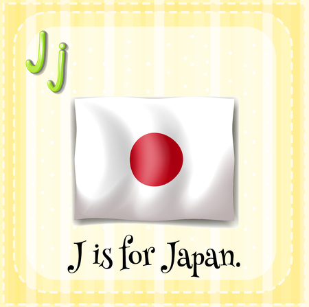 signal device: Flashcard letter J is for Japan illustration Illustration