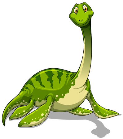 neck: Green brachiosaurus with long neck illustration
