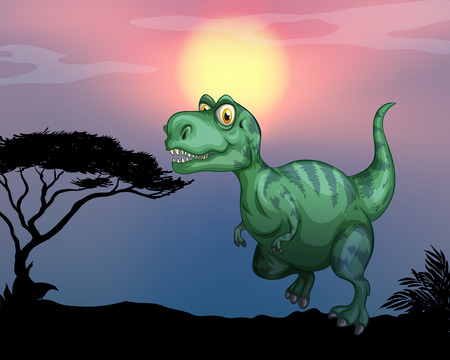 Tyrannosaurus rex in the field illustration