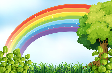 rainbow scene: Nature scene with rainbow illustration