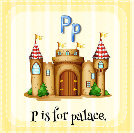 p buildings: Flashcard alphabet P is for palace illustration