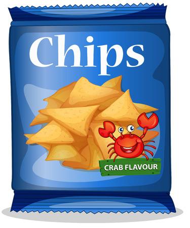 with bag: Bag of corn chips crab flavor illustration
