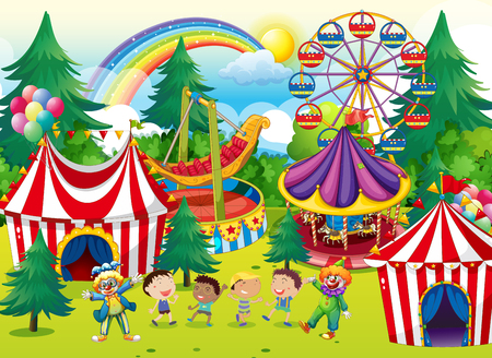 cartoon circus: Children playing in the circus illustration