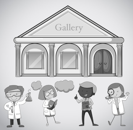 museum: Gallery building and people illustration Illustration