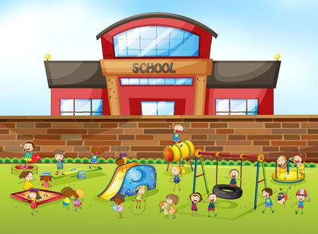 bambini che giocano: Edificio scolastico e parco giochi illustrazione