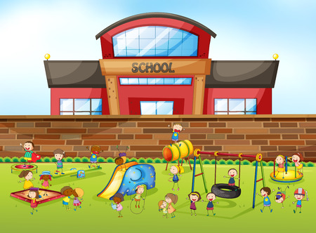 kids playing outside: School building and playground illustration