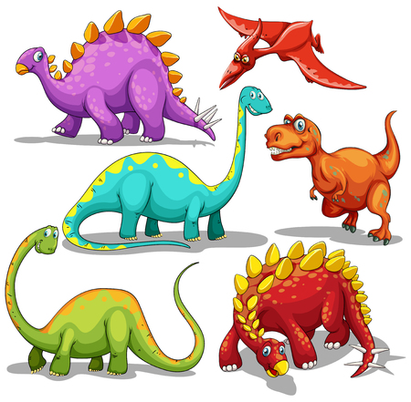 wild nature: Different type of dinosaurs illustration