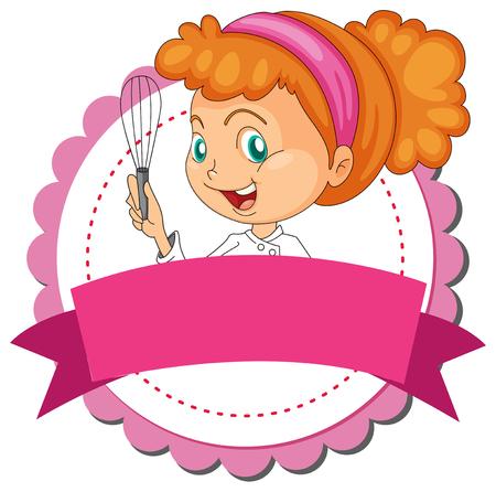 Cocinero de sexo femenino con bandera ilustración