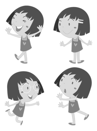 ni�o empujando: Little girl with short hair illustration