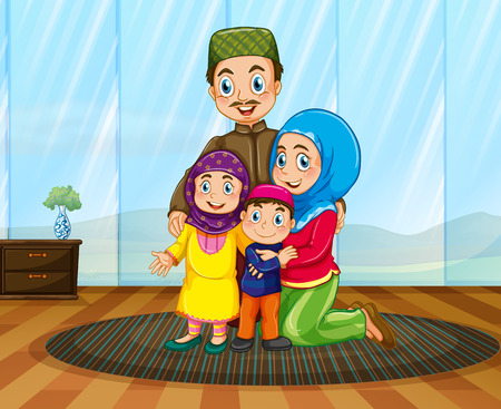 family house: Muslim family in the house illustration