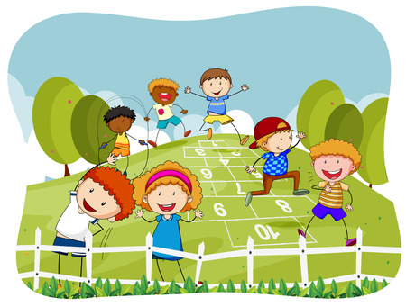 hopscotch: Children doing hopscotch in the park illustration