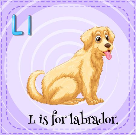 labrador: Alphabet L is for labrador illustration