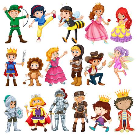 Diferentes personagens de contos de fadas ilustra Ilustração