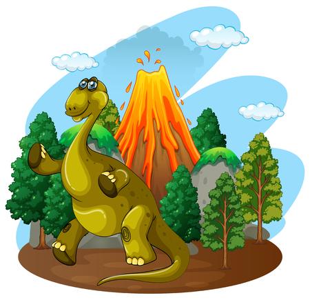 eruption: Dinosaur and volcano eruption illustration Illustration