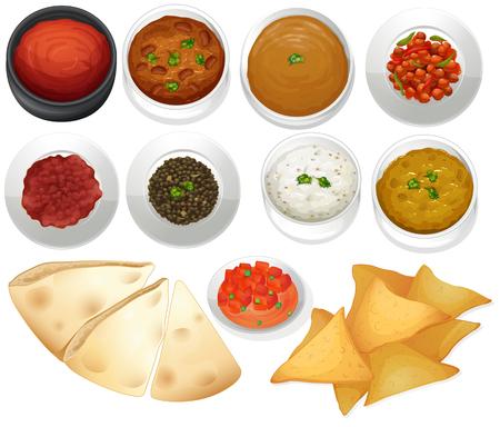 bailar salsa: Diferentes tipos de patatas fritas y salsas ilustración