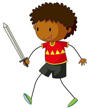 role play: Boy playing with sword illustration