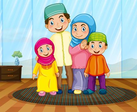 chicos: Familia musulmana en la ilustración de la sala de estar