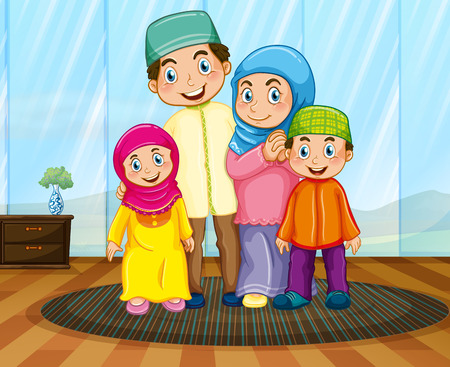 children room: Muslim family in the living room illustration Illustration