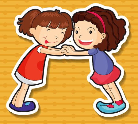 two girls: Two girls playing together illustration
