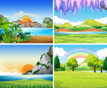 cartoon rainbow: Cuatro escenas de la naturaleza con el lago y el parque de la ilustraci�n Vectores